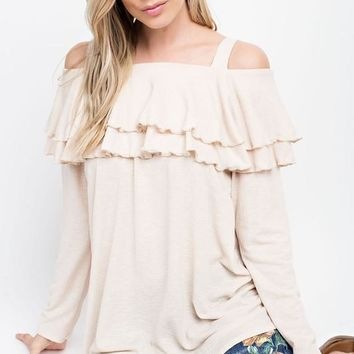 Obidow Linen Knit Off the Shoulder top with Double Ruffle - Taupe