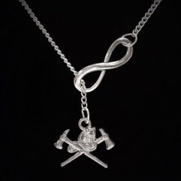 Infinity Firefighters Axe Helmet Fireman Wife Girlfriend Gift Lariat Necklace