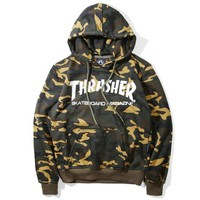 THRASHER summer print men and women in a light teen flame camouflage print