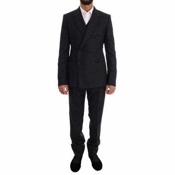 Dolce & Gabbana Black Striped Double Breasted 3 Piece Suit