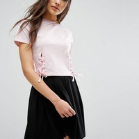 ASOS Crop T-Shirt with Corset Tie Detail at asos.com