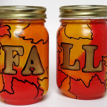Fall Mason Jar Decor- Fall Leaf Decor- Home Fall decor- Painted Mason Jars- Housewarming Gift- Mason Jar Decor