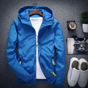 Plus Size 6XL 7XL New Spring Autumn Bomber Jacket Men Casual Windbreaker Zipper Thin Hood Raincoat Outwear Male Hip Hop Jacket
