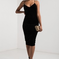 AKIRA Sweetheart Neckline Bodycon Thin Strap Velvet Midi Dress in Gold, Black, Marsala