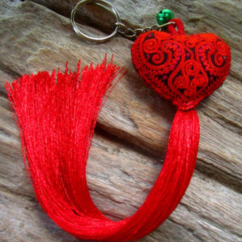 Embroidered Red Heart Long Tassel Bell Keyring Bag Charm Tribe Hippie Ibiza | eBay