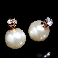 Rhinestone Earrings with Pearl Back