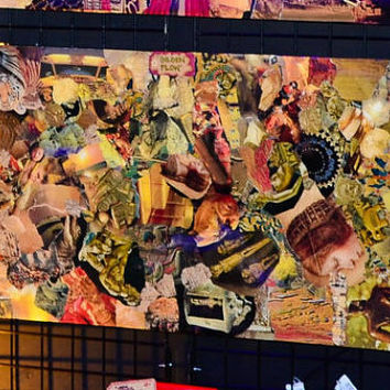 "Original Abstract wall ART!! ""Golden Honey"" (24 x 48"" wood), Collage Sealed with High Quality Epoxy Resin Finish"