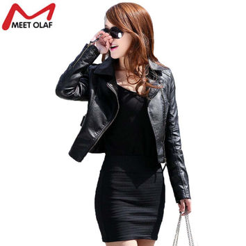 Vintage Women PU Leather Jacket Fashion Slim Thin Biker Motorcycle Soft Faux Leather Zipper Jackets Coat New 2017 YL122