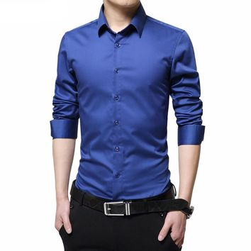Men Dress Shirts Mercerized Cotton Solid Color Slim Fit Long Sleeve Silk Shirt Smooth Men Shirts