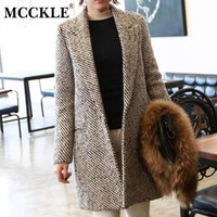 MCCKLE luxury wool coat winter women high quality 2017 fashion overcoat long blends over coats casacos femininos vintage striped