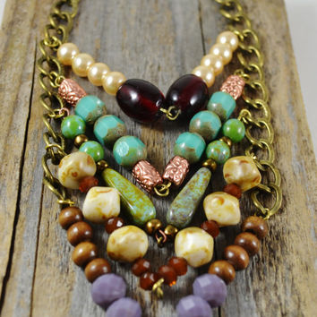 Beaded chevron necklace long chevron necklace Antique gold necklace czech picasso beads Antique style jewelry Turquoise and copper necklace