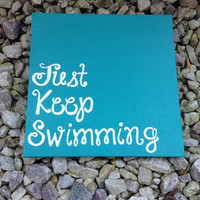 "Hand Painted Canvas - ""Just Keep Swimming"" - Disney's Finding Nemo"