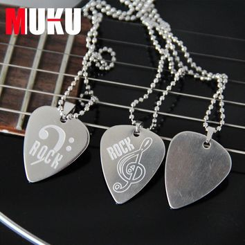 Guitar accessories Stainless Steel Metal Rock Acoustic Guitar Picks Necklace Electric Bass Guitar Plectrum