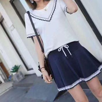 Women's Leisure  Fashion Letter Macrame Printing Short Sleeve  Elastic Band Short Skirt Two-Piece Casual Wear