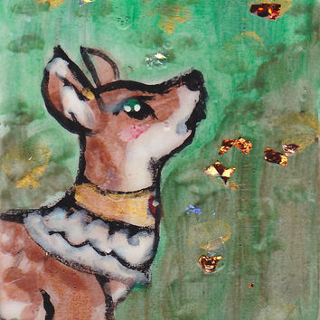ACEO ATC - Deer's Outing - Original Painting on Playing Card. Acrylic Mixed Media sfa. One of a Kind Art / OOAK.  Antequities Series.