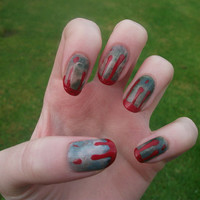 Zombie Infected With Blood Drips Halloween Nail Art, False, Fake, Acrylic, Handpainted Press On Nail Set