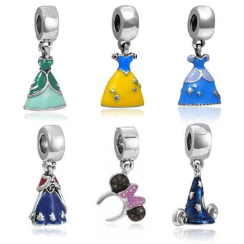 1PC Sliver Plated Blue Magic Hat Pendant Charms Beads Princess dress DIY Charm Bead Fi