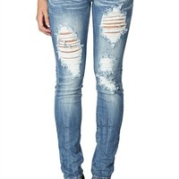 machine medium blast skinny with heavy destruction and back pocket embroidery
