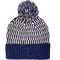 River Island MensBlue mixed stitch beanie hat