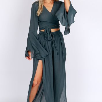 Flowy Wide Pants Forest Green