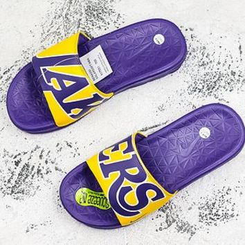 Nike Benassi Solarsoft Nba Los Angeles Lakers Slider Slipper - Best Deal Online