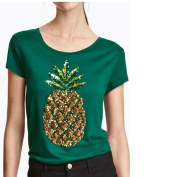 Summer Tops Korean Clothes Teen Women Hipster T Shirt Feminino T Shirts loose Pineapple sequins T-shirt girl Tops Verano Mujer
