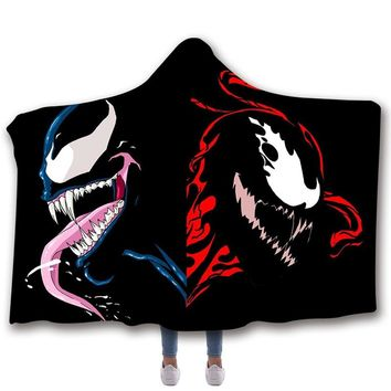 Venom Hooded Blanket Winter Warm Throw Blanket Sherpa Hooded Blankets For Adults Manta Sofa Spider-man Super Soft Anime Blanket