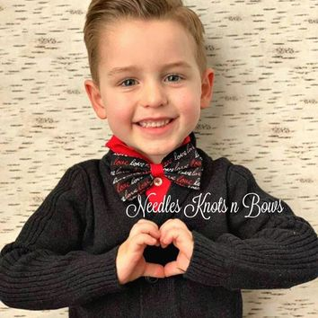 Valentines Day Bow Tie, LOVE on Black Bowtie, Boys, Mens Bowties