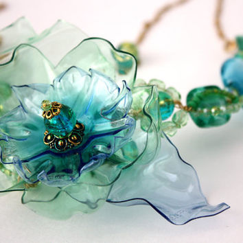 Sea Glass Statement Necklace, Green and Aqua Blue, Upcycled Plastic, Murano, PET, wire wrapped, crackle, Crystal Flower