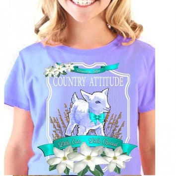 Country Life Youth Kids Southern Attitude Lamb Sheep Little Cute Little Bad Girlie Bright T Shirt