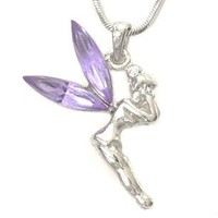 DianaL Boutique Beautiful Purple Tinkerbell Fairy Pendant Necklace Gift Boxed Fashion Jewelry