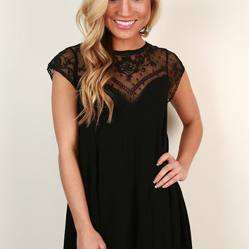 Romance in Venice Shift Dress in Black