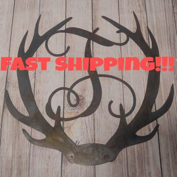 Deer Antler Decor, Antler Door Hanger, Unfinished Letter, Rustic Letter, Personalized Door Hanger, Wedding Guest Book, Gift Idea, Wall Decor