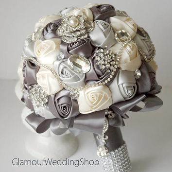 Grey Brooch Wedding Bouquet Ivory Satin Fabric Bouquet Grey Satin Bouquet Ivory Fabric Bouquet Ivory Bouquet Ivory Rose