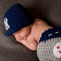 NY Yankees Baby Boy Baseball Outfit Newborn Photo Prop