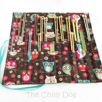 Roll-Up Knitting Needle Case - Pink, Brown and Blue Owls