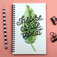 Writing journal, spiral notebook, bullet journal, cute sketchbook, inspirational quote, blank lined grid paper - Inspire create repeat
