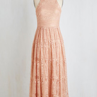 Pastel Long Sleeveless Maxi With Style and Lace Dress in Peach