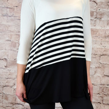 Lola Color Block Tunic - Black