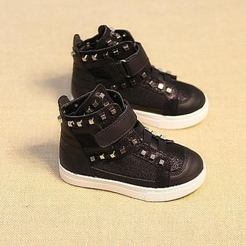 Baby Kids Girls Boys Casual Flats Lace Up High Tops Shoes Rivet Sneaker Boots = 170516