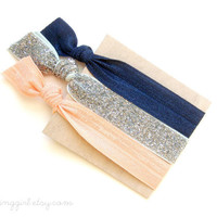 Classic Beauty Set: 3 Elastic Handmade Hair Ties, Glitter,