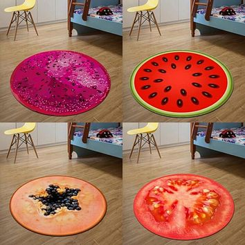 3D Print Round Fruit soft Carpets Soft Rugs for Kids