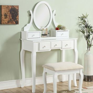 Vanity White in Color Make-Up Table with Stool