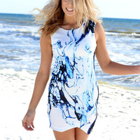 Open Sea White & Blue Wave Dress