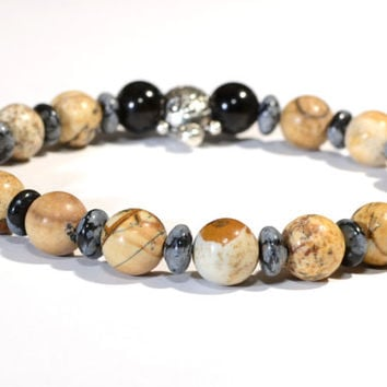 Beaded Gemstone Bracelet or Anklet with Snowflake Obsidian and Jasper - BB702