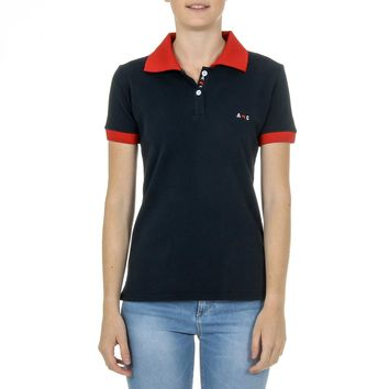 Andrew Charles Womens Polo Short Sleeves Dark Blue E Nia