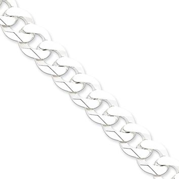 Men's 12mm Sterling Silver Solid Beveled Curb Chain Bracelet, 9 Inch