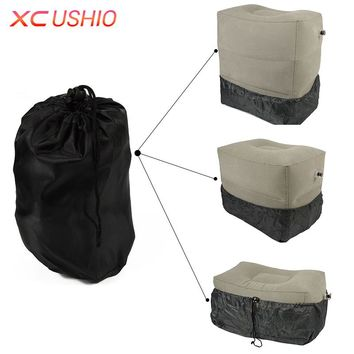 XC USHIO Two Valves Adjustable Height Inflatable Travel Cushion Pillow Airplane Train Car Footrest Movable Chair For Child