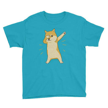 Dabbing Dog Shiba Inu Doge Puppy Gift Youth Short Sleeve T-Shirt