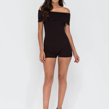 Fold Up Ribbed Off-Shoulder Romper GoJane.com